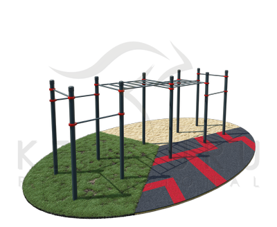 Classic two-level monkey bars  and 6 pull-up bars