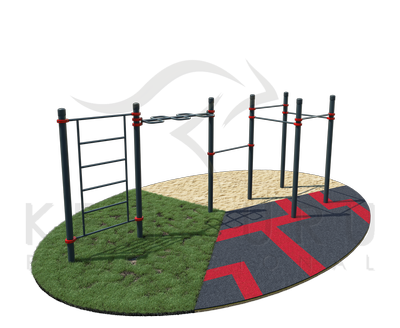 Monkey bars - snake, wall bars, four pull-up bars of classic hold and one pull-up bar with hold unclassic hold