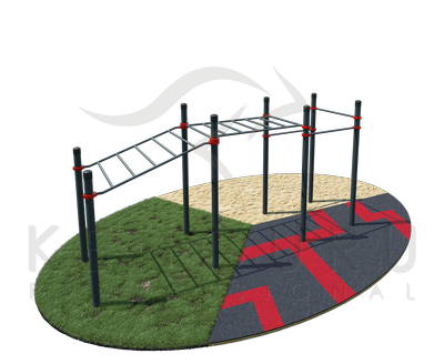 Two section multi level monkey bars and 3 pull-up bars