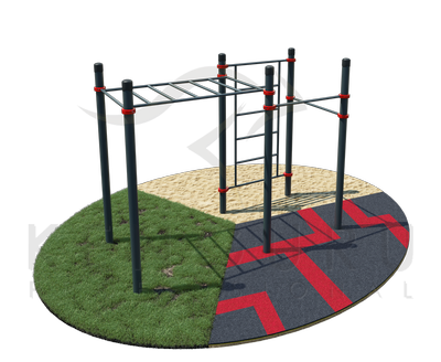 Classic monkey bar with Swedish wall and two pull-up bars